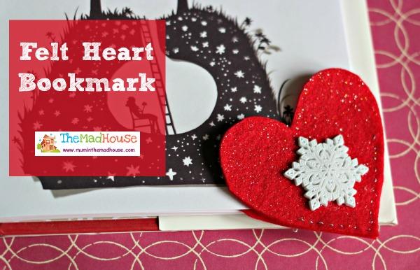 felt heart book mark