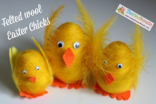 Felted roving wool easter egg chicks