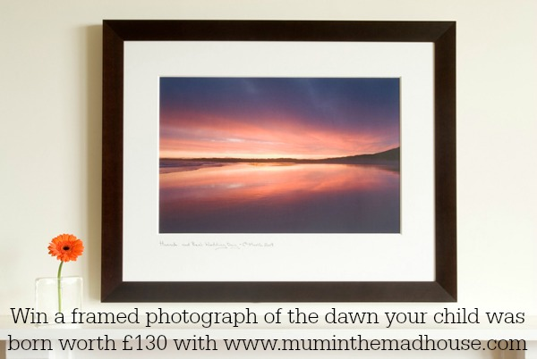 framed photograph of the dawn your child was born