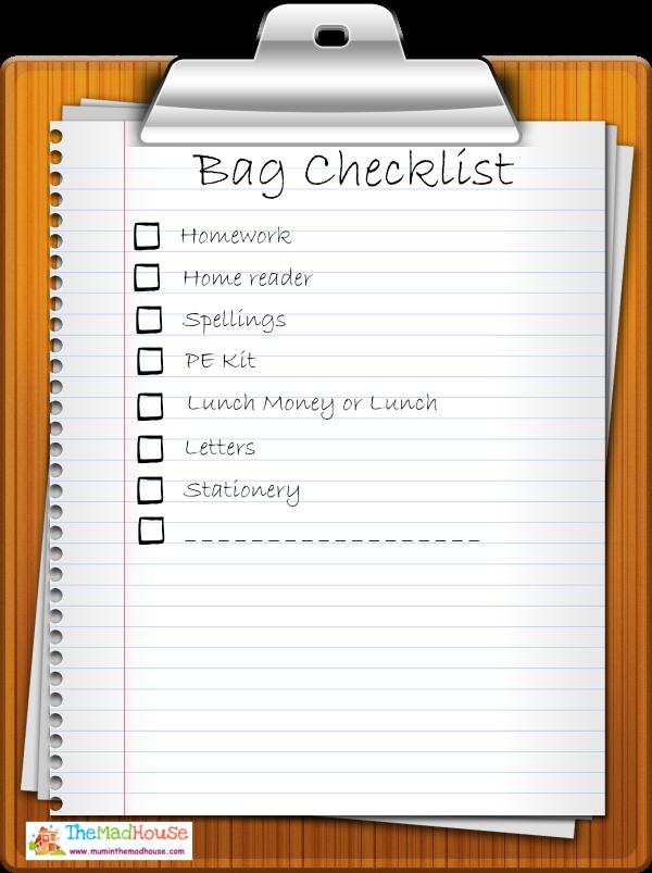 Bag checklist