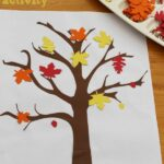Autumn/Fall leaves sticking activity for preschoolers