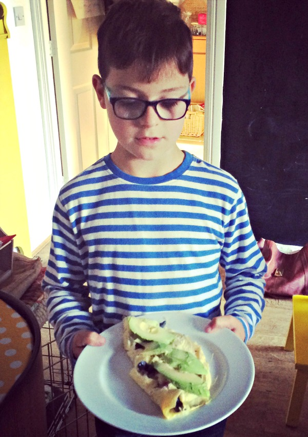 Mini with his omlette