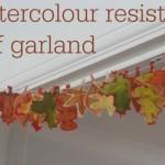 Autumn/Fall watercolour resist leaf garland