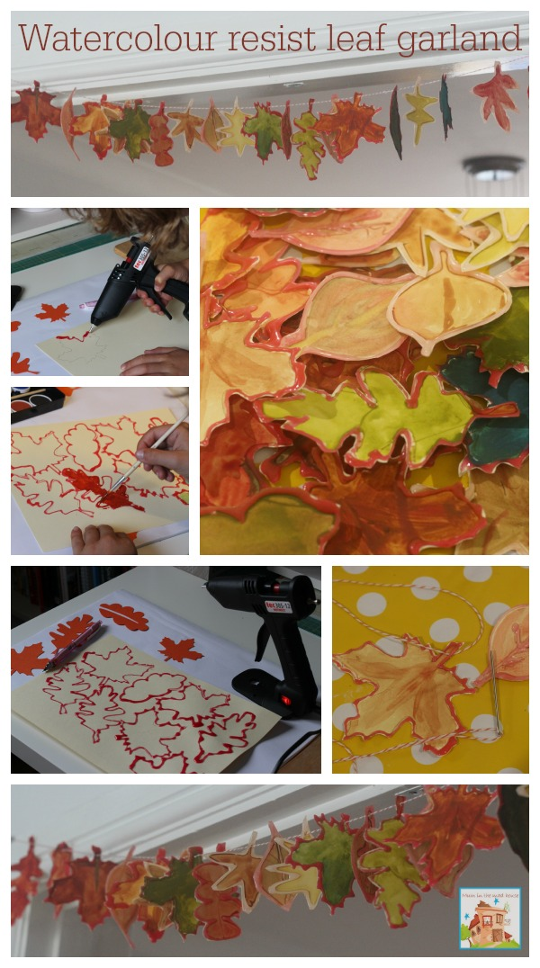 watercolour resist leaf garland how to