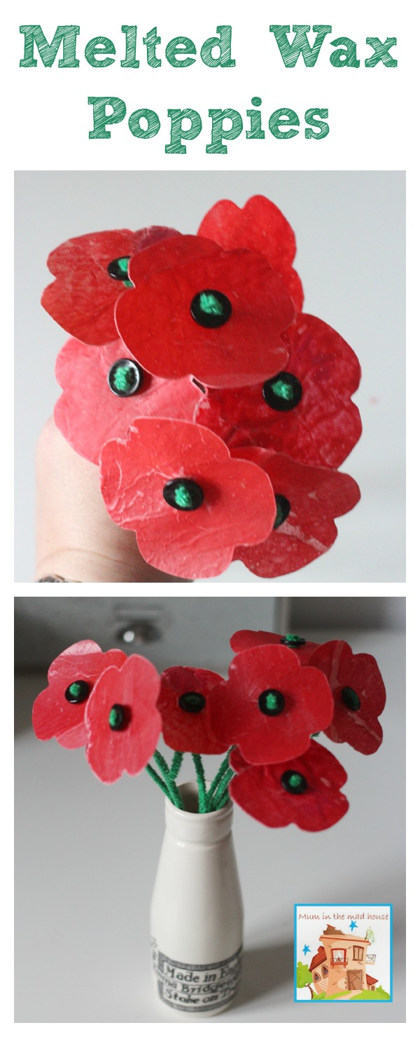 Melted crayon wax poppies