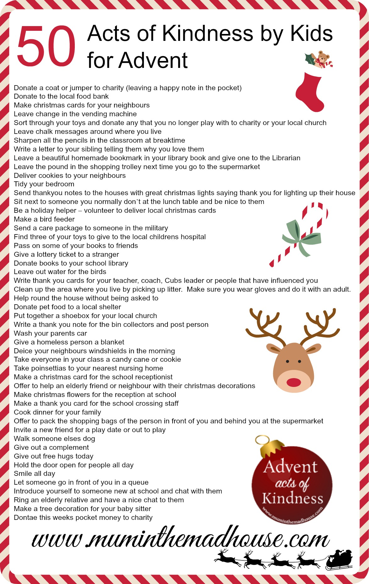 Advent Calendar List Ideas : An alternative advent calendar acts of kindness by kids