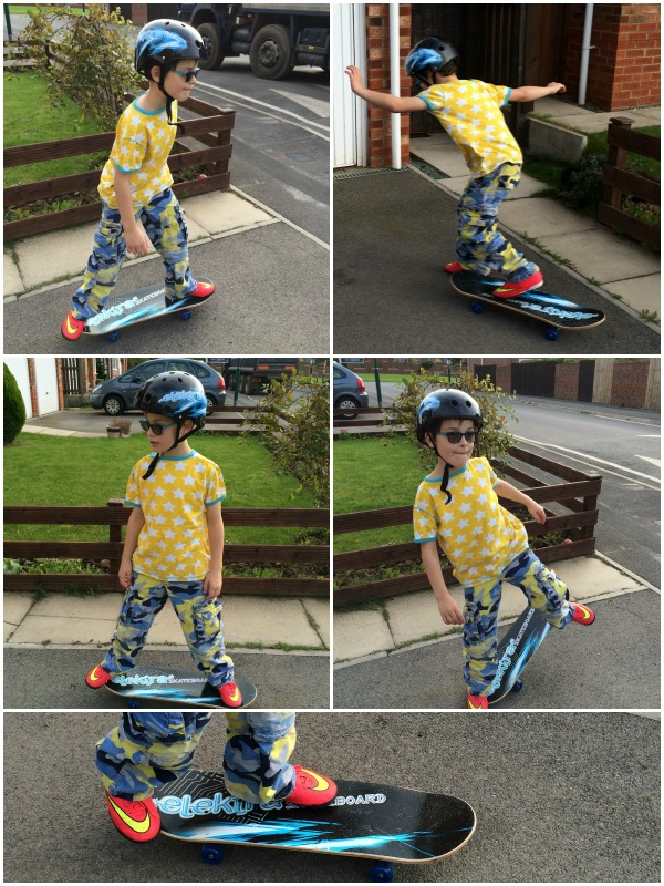 Mini on skateboard