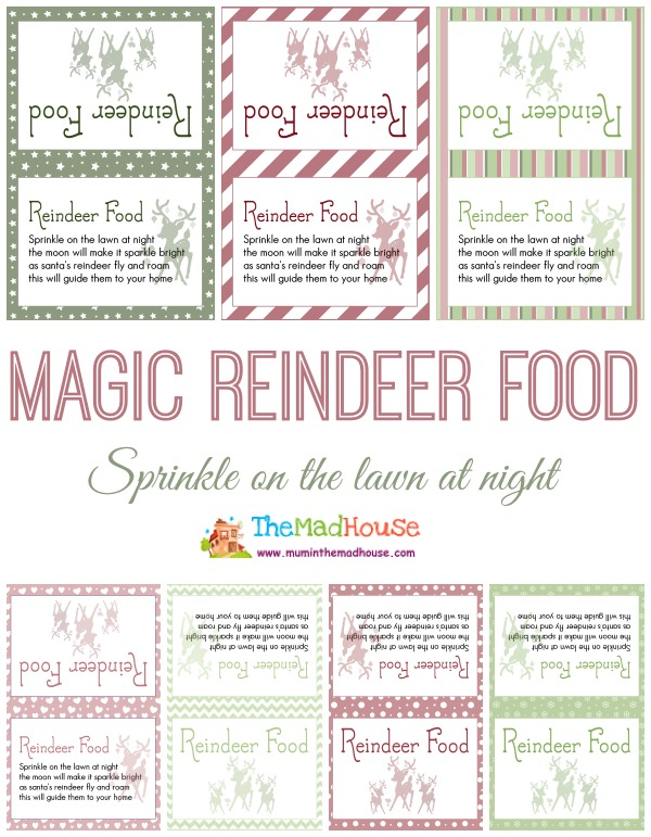 Magic reindeer food printables