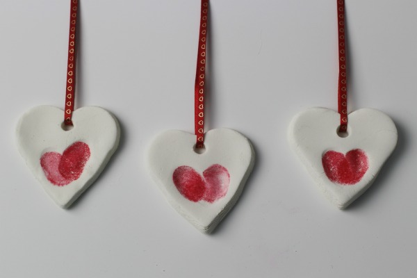 Fingerprint heart ornaments red