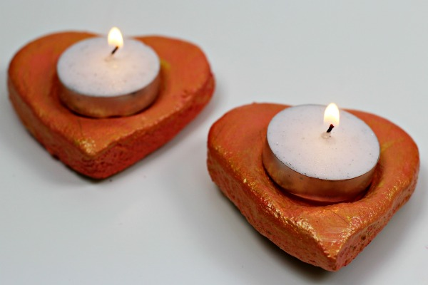 Salt Dough heart candle holders