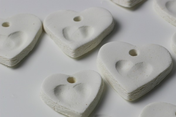 white clay hearts
