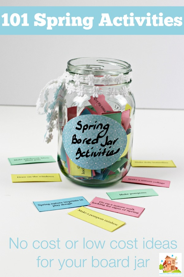 Spring Activities for Bored Jars. A 101 low cost or no cost spring activities for kids perfect for updating your bored jar. This printable list includes kids crafts, kids activities, family fun and chores too.
