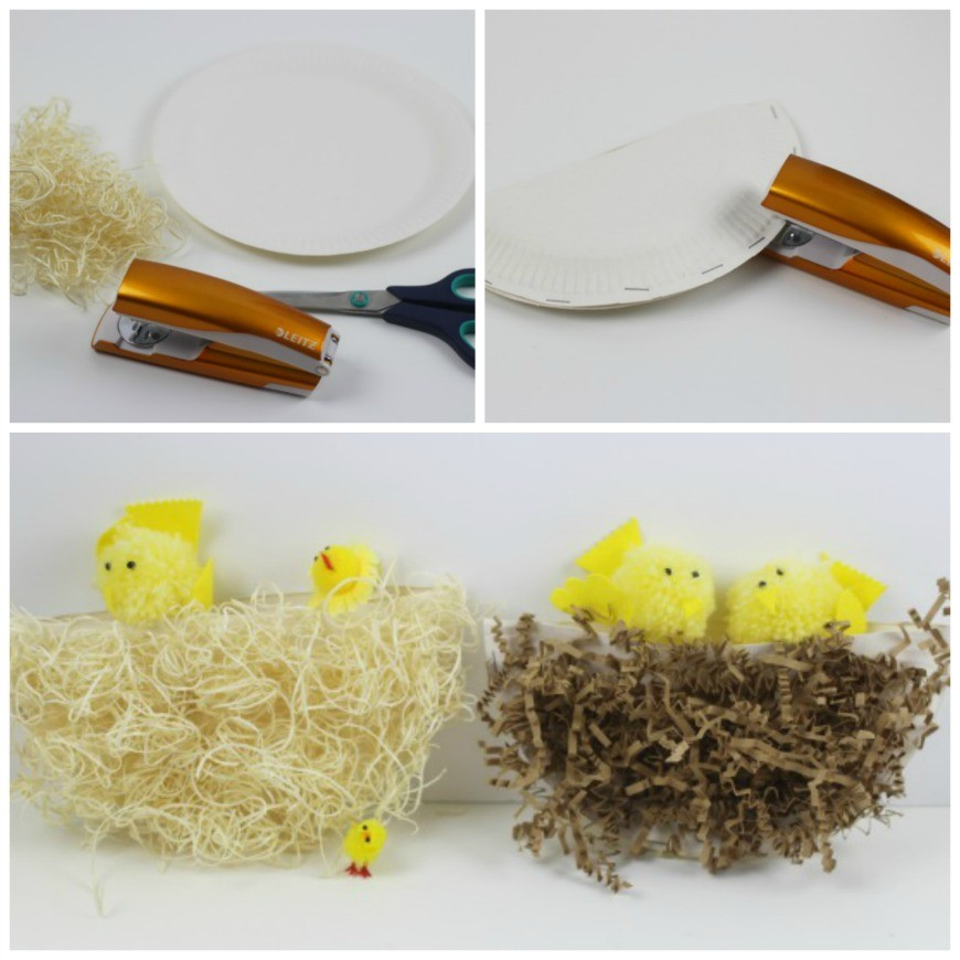 Paper plate nests - Simple paper plate nests using recycled packing materials. This is an easy, effective craft for kids for Spring and Easter.