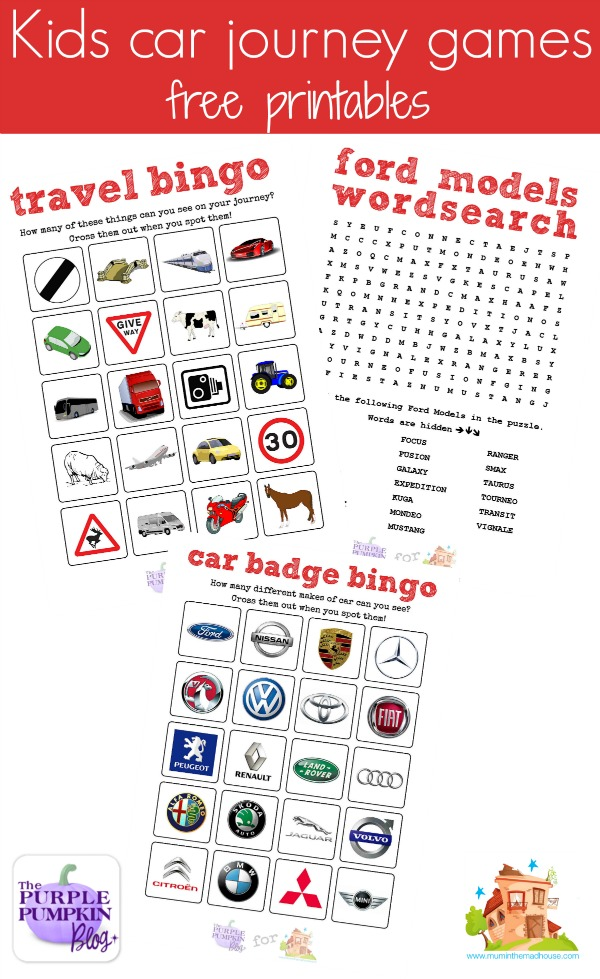 free kids car journey games printable