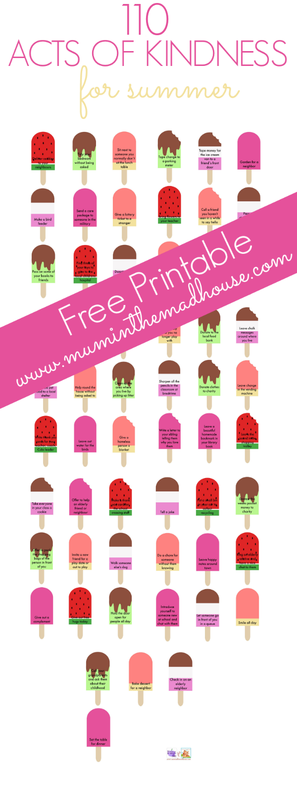 110 acts of kindness for summer free printable