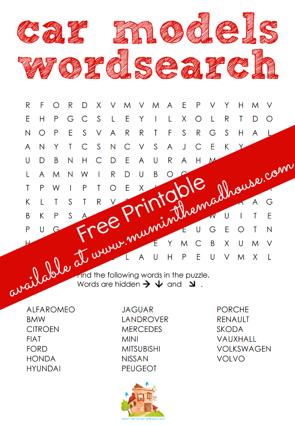 car models wordsearch free printable