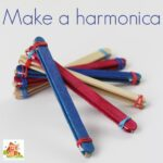 Lolly stick harmonica or a popsicle stick harmonica