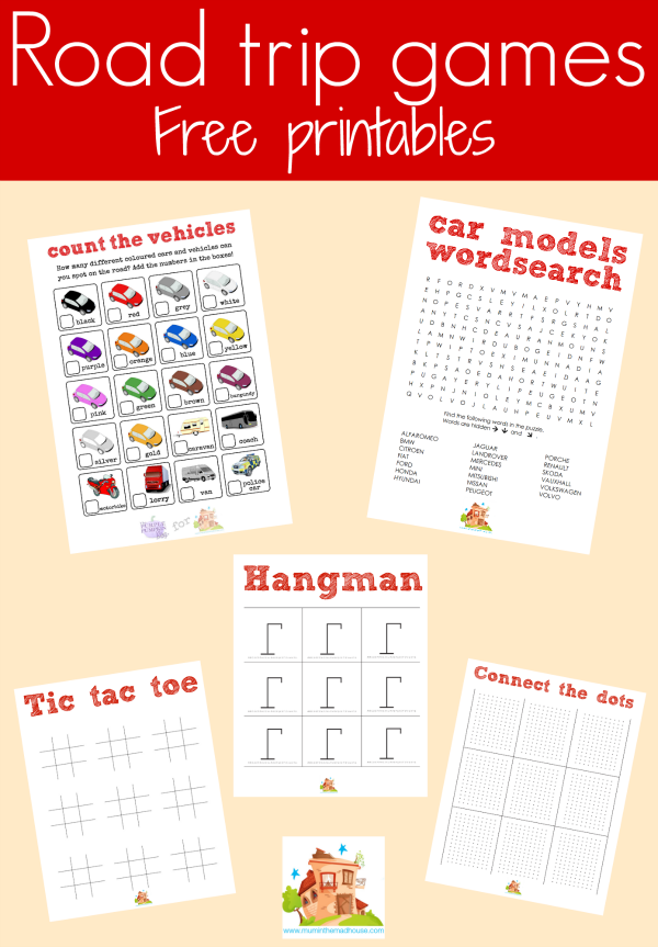 road trip games free printable