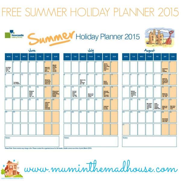 Free summer holiday planner