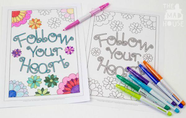 follow your hear simple colour sheet