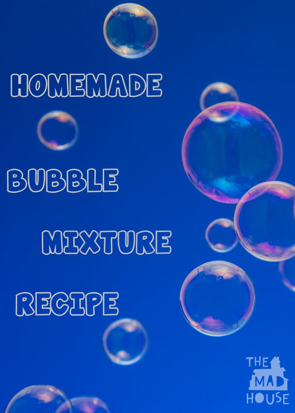 Homemade bubble mixture recipe. Make super bubbles with what you have in the kitchen cupboards. I bet you can find the magic ingredient to make magical bubbles with your kids