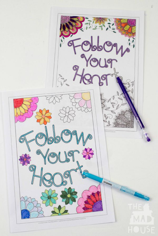 mummy and me follow your heart colouring sheets