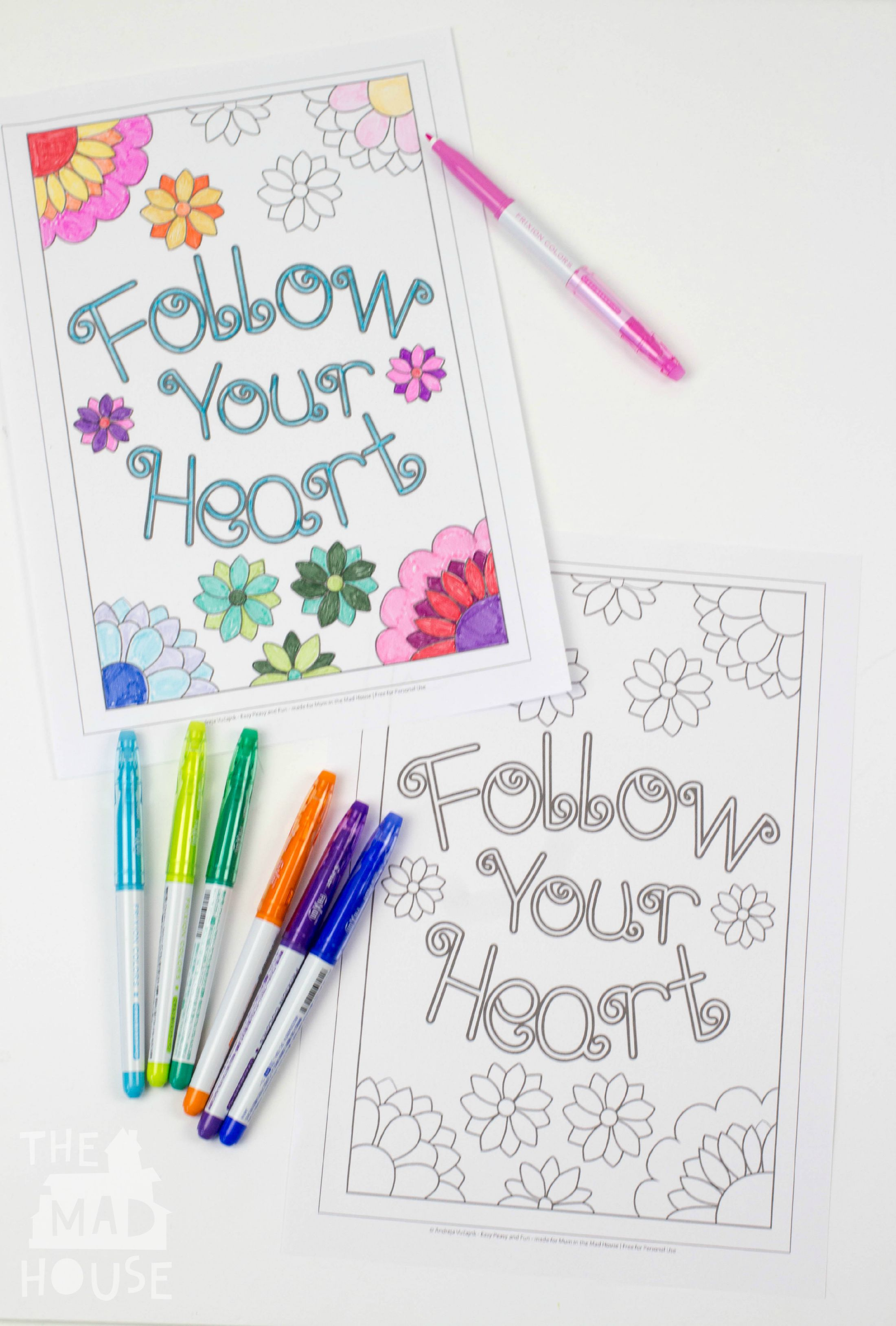Colouring adults benefits - Simple Follow Your Heart Colouring Sheet