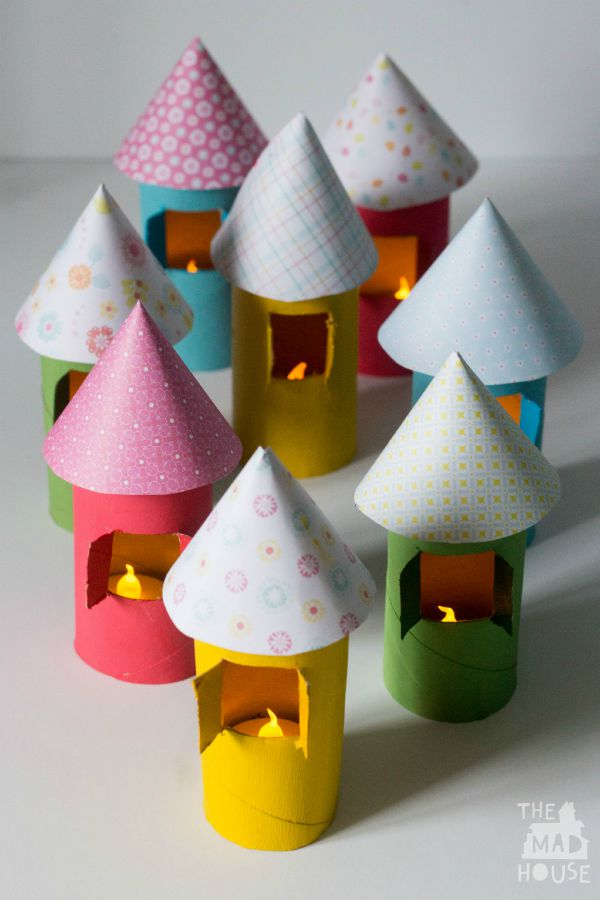 light up cardboard tube houses