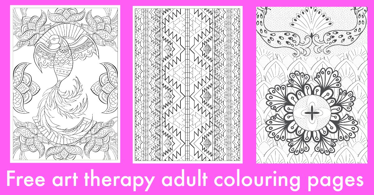 Free art therapy adult colouring pages facebook