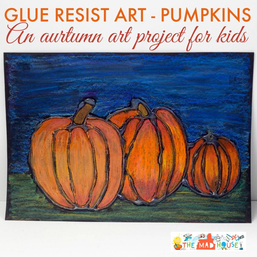 Glue resist art project for kids pumpkins
