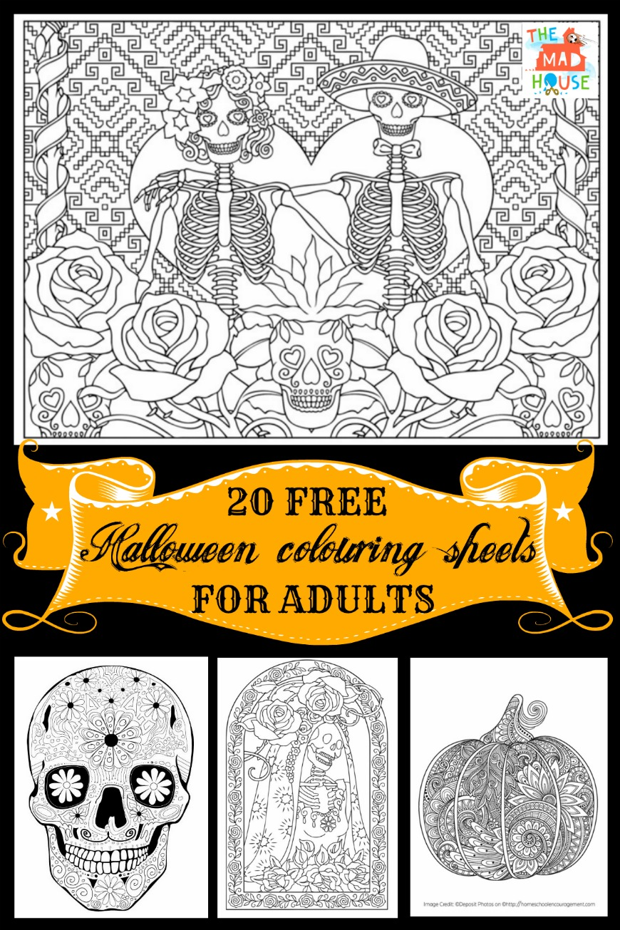 20 halloween coloring pages for adults celebrate halloween and day of the dead with this
