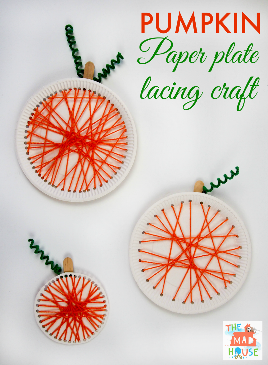 pumpkin paper plate lacing craft