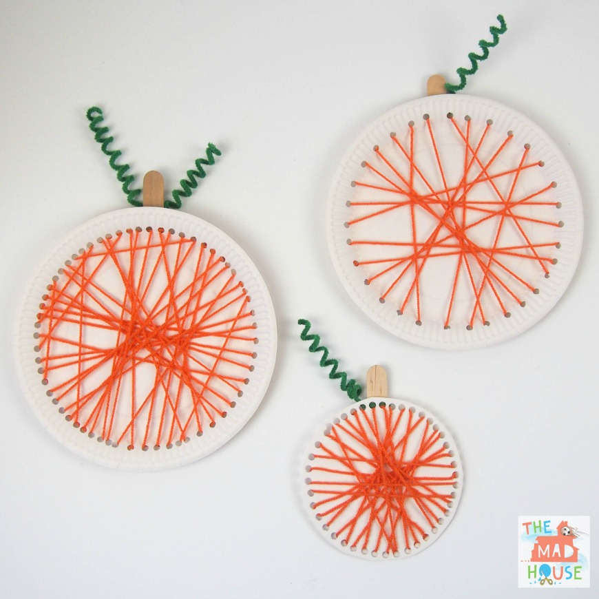 Pumpkin paper plate lacing craft