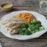 Cooking with kids – Pan-Fried Chicken Breast with Sweet Potato Mash & Peppercorn Sauce
