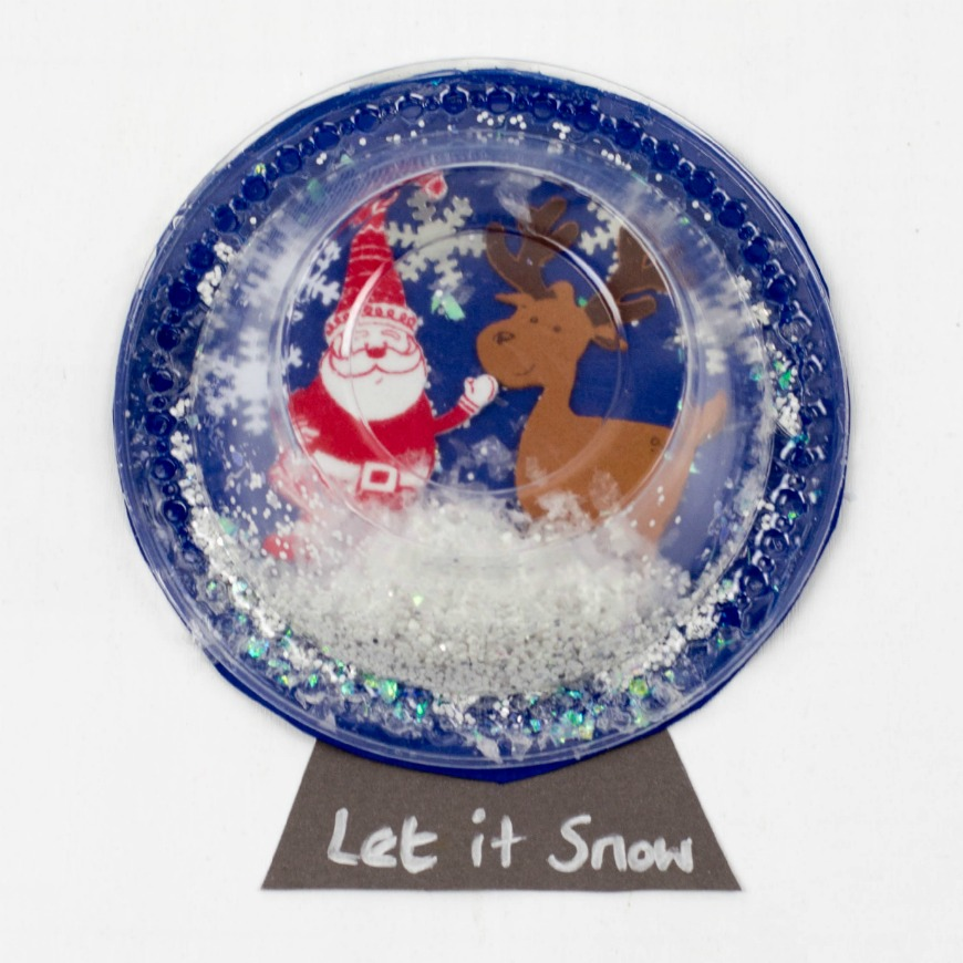 Plastic bowl snow globe art for kids mum in the madhouse for Snow globe craft for kids