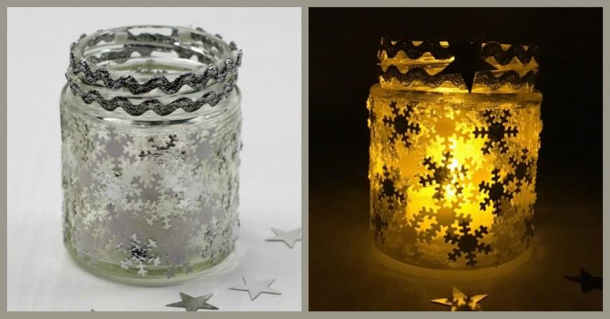 Winter Snowflake Jar Luminary