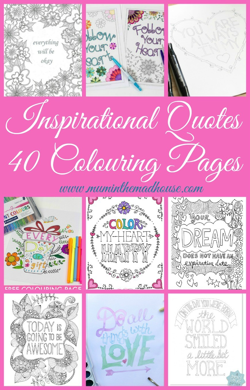 Quotes colouring pages - Inspirational Quotes Colouring Pages