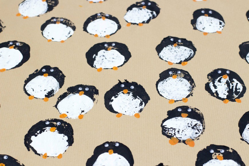 DIY Wrapping paper - potato print penguins