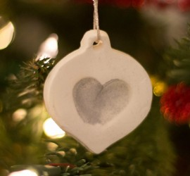 white clay Christmas fingerprint ornament