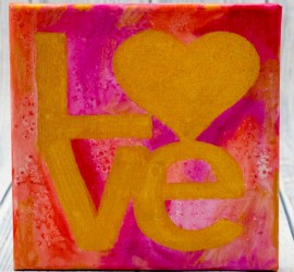 LOVE Watercolour resist canvas