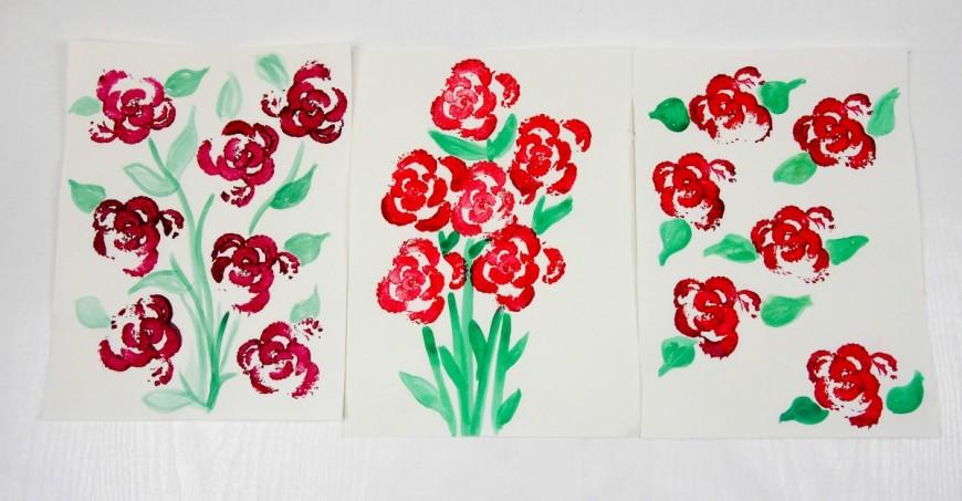 Printing Flowers with Celery Stalks