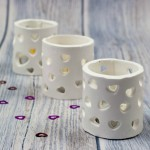 heart cutout tea light holders made with microwave drying clay