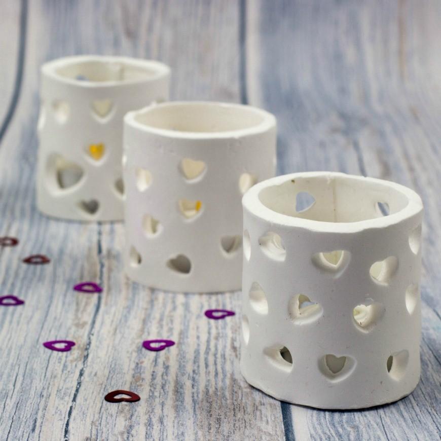 porteurs de lumière de thé fait avec micro-ondes argile de séchage