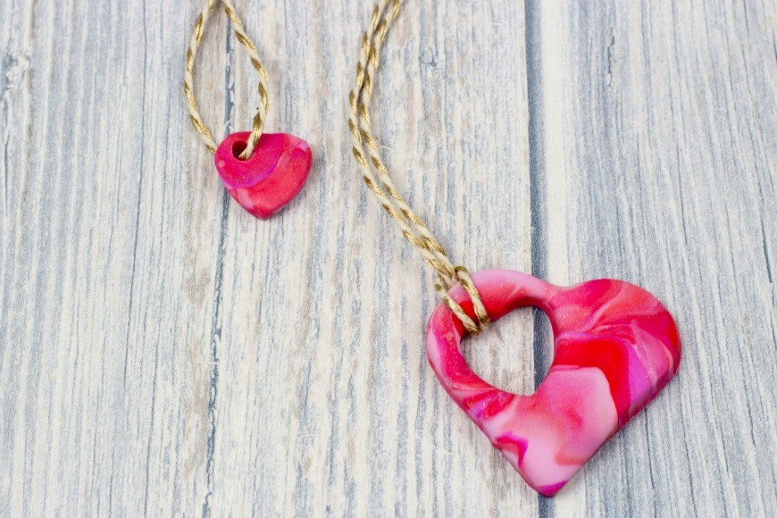 mother and child heart necklace
