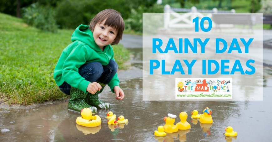 10 Amazing wet weather play ideas. Encourage the kids to play outside in the rain with these super play activities and rain based kids crafts