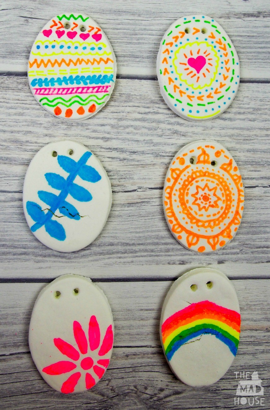 DIY White Dough Eggs. Perfect craft for the kids to make for Easter.