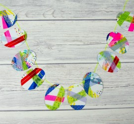 Washi Tape Easter Bunting. This is a fab DIY craft that is perfect for kids to celebrate Easter and spring. A simple children's process art activity that makes a beautiful Easter Decoration.