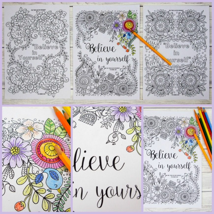 believe in yourself adult colouring pages mum in the