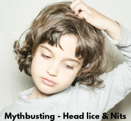 Mythbusting - Head lice and NITS square text