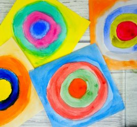 Kandinsky for kids - concentric circles in squares